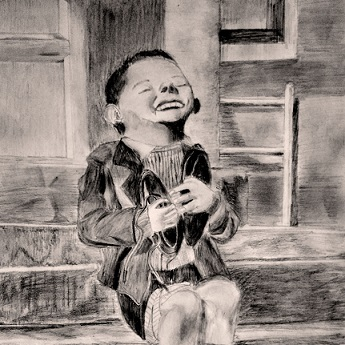 'New Shoes' by Gerald Waller, Austria 1946 Six year-old Werfel, living in an orphanage in Austria, hugs a new pair of shoes given to him by the American Red Cross. 								This photo was published by Life magazine. The portrait is sketched using a combination of HB, 2B and 6B pencils on standard drawing paper. Date: November 2016