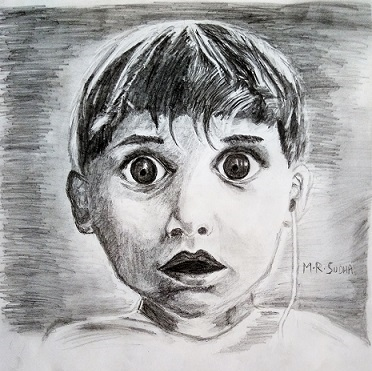 A portrait of Harold Whittles, a boy hearing for the first time. A combination of 0.7mm HB Mechanical pencils and 6B pencils were used to make this portrait on standard drawing paper. Date: July 2016